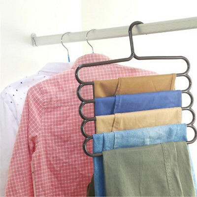 5 Layer Pants Scarf Hangers Holders Trousers Towels Clothes Apparel Space-Saving