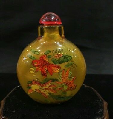 Chinese traditional Arts Glass Inside handwork Painting goldfish Snuff Bottle