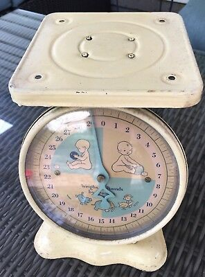 Antique 1950's Baby Scale 30lbs Cream Yellow Rustic Vtg But Works!!