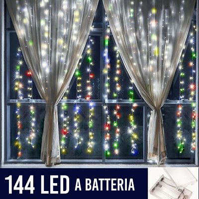 Tenda Luminosa Natalizia per Finestre 144 LED set 2 Tende 120 cm Multicolor