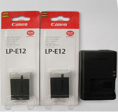 2x LP-E12 Batteries & LC-E12E Charger For Canon EOS-M EOS 100D Rebel SL1 DSLR