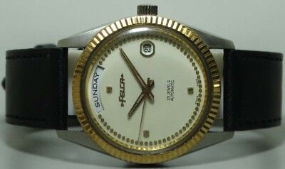 Vintage Felca Automatic Day Date Swiss Made Wrist Watch s456 Used Antique