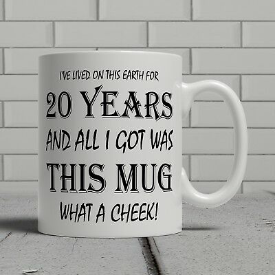 20TH BIRTHDAY MUG funny cheeky gift idea brother sister son daughter happy  20