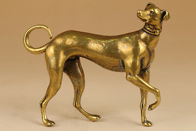 chinese old Copper Solid Hand Carved Dog Statue Figure