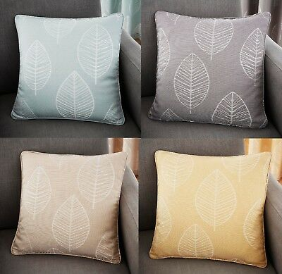 "Helsinki Cushion Covers-Sofa Cushions Modern Large Leaf In 4 Colours 17"" x 17"""