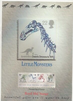 1991 Post Office A4 Poster Grille Card - Dinosaurs