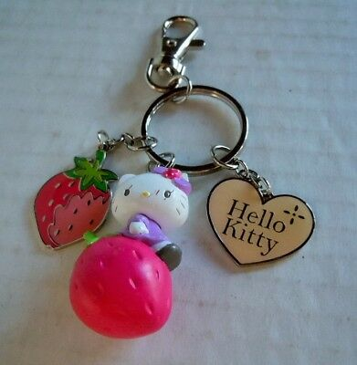 Sanrio Hello Kitty Clip-On Keychain Cat On Strawberry