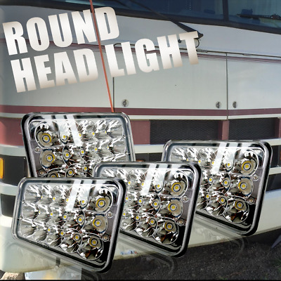 """4x6"""" LED Headlights for KW Kenworth T600 T400 T800 Truck Peterbilt 379 Chevy S10"""