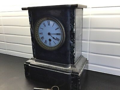 "Antique mantle Marble Type Windup clock 10"" Tall By  8.5"" By 5"" Heavy Repairs"