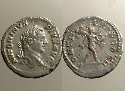 CARACALLA SILVER DENARIUS___Roman Imperial___MARS HOLDING SPEAR AND TROPHY