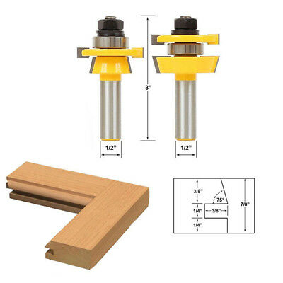"2pcs Rail & Stile Router Bit 1/2"" Shank Shaker Chisel Cutter Woodworking Set"