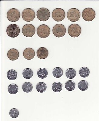 27 Mexican coins (11 $ .50, 3 $ .20, 12 $ .10, 1 $ .05) Mixed Lot, Various Years
