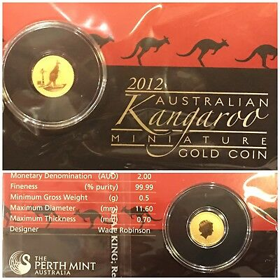 2012 Australian Kangaroo $2 Gold Coin .5 Gram .9999 Pure SEE PHOTOS