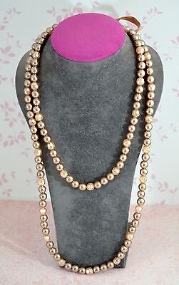 Vintage style long faux pearl necklace - light brown