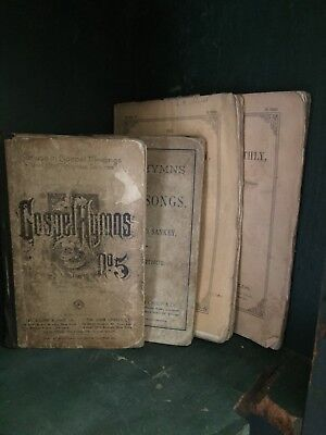 LOT OF 4 VERY PRIMITIVE ANTIQUE BOOKS, 1800's
