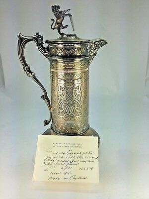 C.1860's English Silver Richly Chased Pitcher & Lion Finial From Marshall Field