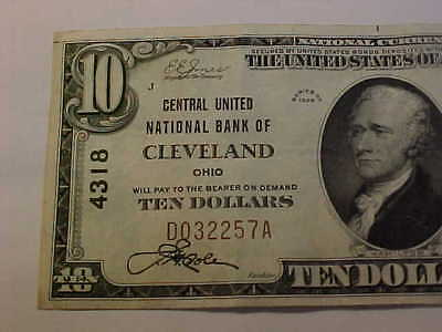 1929 Cleveland Ohio $10 Type 1 Charter 4318 National Currecny Banknote Xf Plus