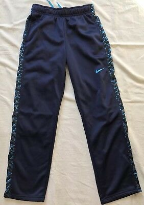 Boys Nike Therma-Fit Navy Blue Drawstring Camo Sides Sweatpants Pocket Pants YMD