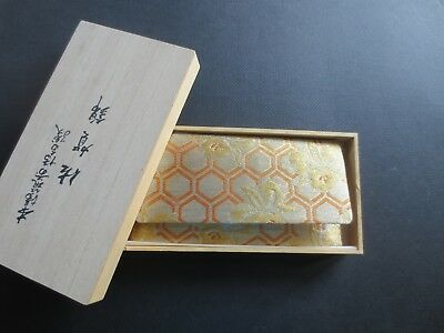 Vntg Japanese Gold Orange Brocade Clutch Bag Use with Kimono Envelope Wood Box