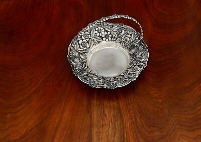 - Superb Loring Andrews Co. Sterling Silver Cake Basket: Floral Repousse No Mono