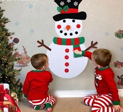 Kids Toys Snowman Ornaments Door Wall Hanging Kit Christmas Decorations For Home