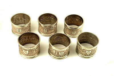 Lot Six Heavy Indian Burmese Embossed Silver Napkin Serviette Rings 265g