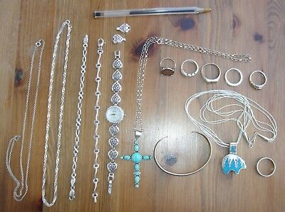 collection of sterling silver mixed jewellery - rings bracelets etc - no reserve
