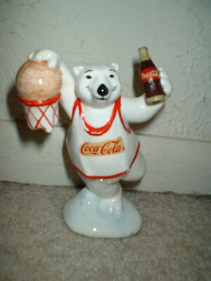 1995 COCA-COLA Ceramic BASKETBALL Figurine by Enesco Corp