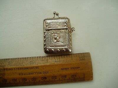 SILVER STAMP BOX or VESTA CASE CHATELAINE FOB RING.