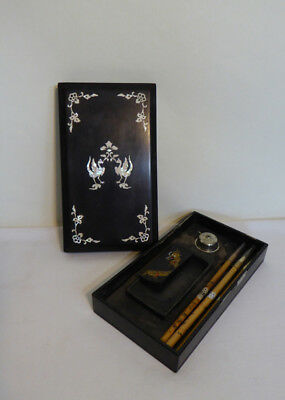 VTG Japanese Black Lacquered Calligraphy Box w/ Ink Stone and Writing Brush, MOP