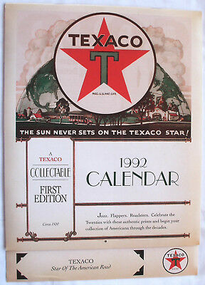 "Vintage 1992 Texaco Retro 1920's Theme First Edition Wall Calendar 12""x8.5"" Nos"