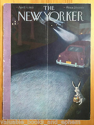 New Yorker Magazine 1953 April 4 Vintage Mid-Century Advertising Travel Airlines