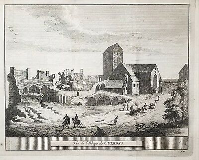 1707 Antique Engraved Print SCOTLAND Pieter van der Aa CULROSS ABBEY St Andrews