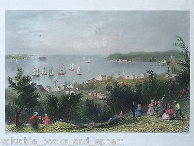 c1839 Antique Engraved Print Narrows Staten Island Brooklyn New York Bartlett