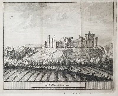 1707 Antique Engraved Print SCOTLAND Pieter van der Aa BOTHWELL CASTLE Chateau
