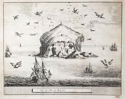 1707 Antique Engraved Print SCOTLAND Pieter van der Aa BASS ROCK Firth of Forth