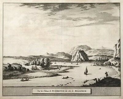 1707 Antique Engraved Print SCOTLAND van der Aa DUMBARTON CASTLE Strathclyde