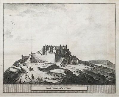 1707 Antique Engraved Print SCOTLAND Pieter van der Aa STIRLING CASTLE Royal