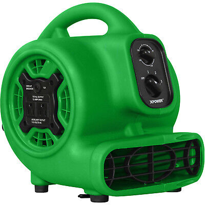 XPOWER1/5HP Mini Air Mover Green Portable Carpet Dryer Powerful Speed Floor Fan