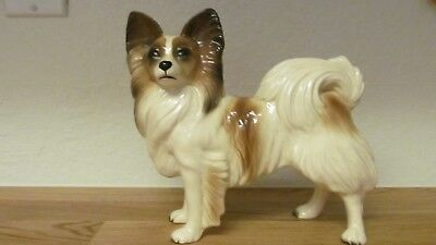 """Vintage Coopercraft Large Papillon Dog Pottery 7.5"""" x 8"""" Made in England"""