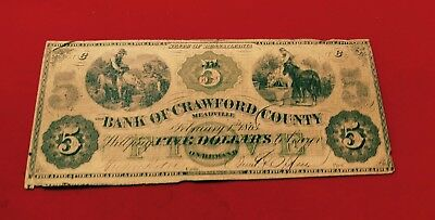 Attractive 1863 Currency $5 Bank Of Crawford County Pennsylvania - Strong Colors