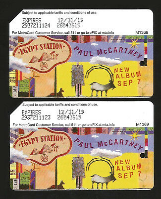 Two NEW Paul McCartney Metrocard MTA NYC 2018 Limited Ed. MINT FREE-SHIPPING