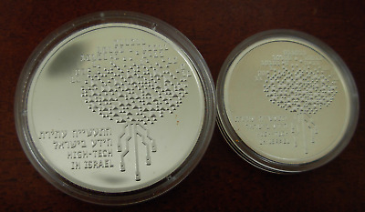 Israel 1999 Silver 2 and 1 Silver Sheqalim PROOF High Tech in Israel