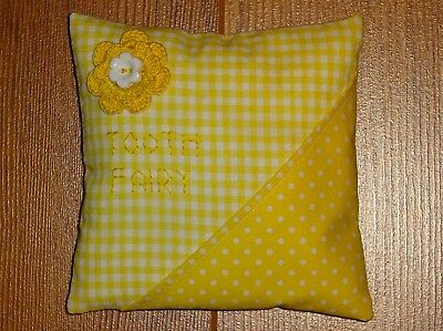 Handmade Tooth Fairy Pillow ~ Yellow Gingham & Polka Dot With Crocheted Flower