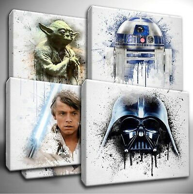 Choose your Star Wars Characters - paint splatter CANVAS Wall Art Picture Prints