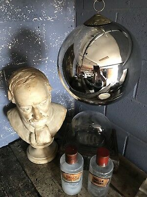 Antique Mirrored Mercury Glass Foxed Silver Witches Ball HUGE Large 79cm Circumf