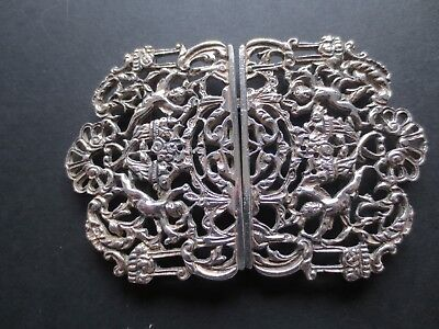Vintage ornate silver plate nurse buckle with cherubs and swags