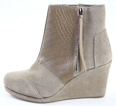 870fa41c7bf Toms Womens Size 6.5 7 8.5 Desert Platform Wedge High Bootie Suede Snake New