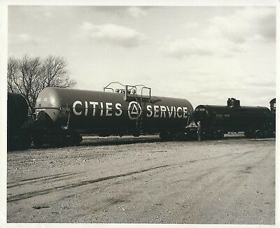 A Photograph of a Cities Service Jumbo Tank Car 20,000 plus gallons