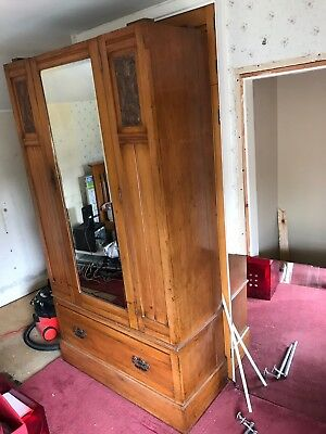 Edwardian Antique Wardrobe With Mirror And Carved Front